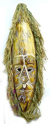 African Hand Carved Wooden Tribal Mask With Hair Wall Decor Brown