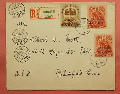 1938 Hungary Hazateres Overprints On Cover Budapest Registered To Usa