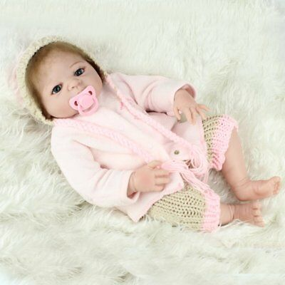 22'' Full Body Vinyl Silicone Baby Girl Reborn Dolls Real Life Xmas Bath Gift