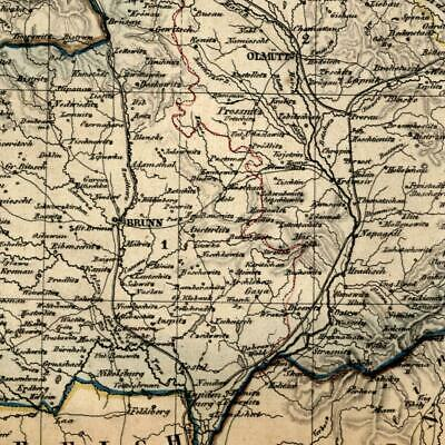 Germany Mahren Rhineland 1854 Biller Brunn inset Olmutz Troppau old map