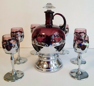 Farber Cambridge Amethyst Decanter & 6 Wine Glasses Art Deco, Really Striking!