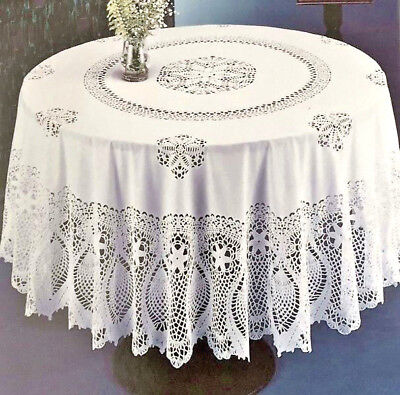 "Crochet Lace Pineapple Soft VINYL Tablecloth White Vintage Look Dining 70"" RD"