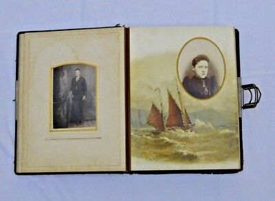 Antique Embossed Leather Photo Album 43 Photos 32 pages Sail Boat prints