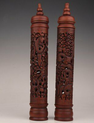Pair Boxwood Carved Hollow-Out Dragon Statue Buddhist Incense Drum Tube Box Old