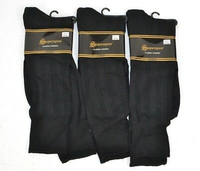 Vtg 90s Lot of 3prs Superspun Men's Ribbed Thin Nylon Dress Socks, Black 10-13