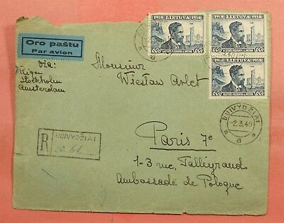 1940 Lithuania Buivydziai Cancel Registered Airmail To France