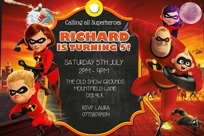Personalised The Incredibles 2 Birthday Party Invites Inc Envelopes