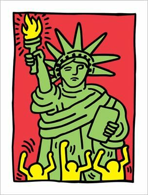 STAMPA QUADRO PANNELLO IN LEGNO MDF Keith Haring Statue of Liberty 100 × 73 cm