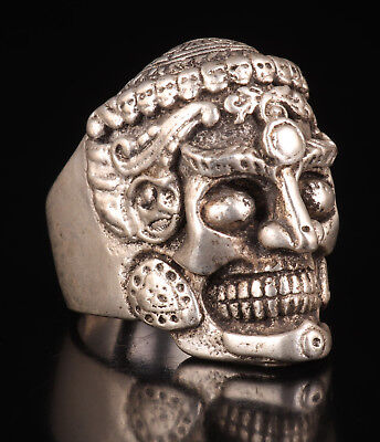 Tibetan Silver Skull Statue Exorcises Individual Ring Adorn Male Fittings