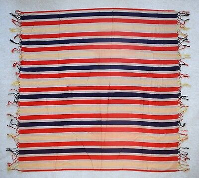 Unusual Antique 19Thc Pure Silk Striped Shawl, English?