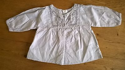 H&M Long Sleeved Button Up Light Grey Embroidered Cotton Shirt 2-3-4 m 62 cm