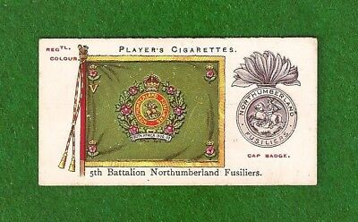 NORTHUMBERLAND FUSILIERS 5th Battalion FIGHTING FIFTH Colour &  Badge 1910 card