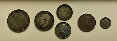 Lot of 5 British Silver Coins & 1 Half Penny (1911-1937)