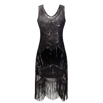Women 1920s Great Gatsby Flapper Sequin Fringe Midi Dress Retro Black
