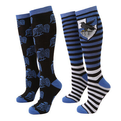 Harry Potter Ravenclaw Raven Two-Tone Adult Women's Knee High Socks - 2 Pack