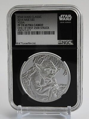 "2016 Niue $2- 1 Oz Silver  ""Star Wars - YODA"" One of First 2,500 - NGC PF70   !!"