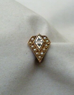 Vintage 14K Gold Seed Pearls Fraternity Sorority Pin Signed Greek Vc ~ 1.1 Grams