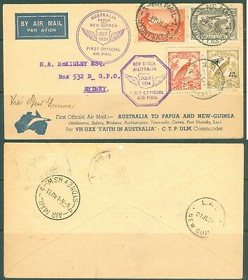 1934  NEW GUINEA   1st OFFICIAL AIR MAIL - SYDNEY TO LAE - RARE  COVER