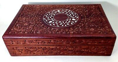 Antique/vintage Indian hand carved teak? wooden tea caddy eight compartments