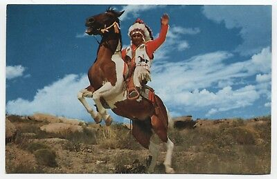 ROUTE 66 ~ Chief Joe Deerfoot on Stallion GALLUP New Mexico c1950's Postcard