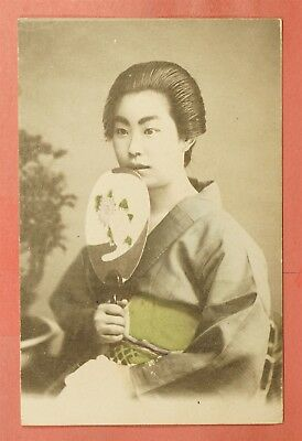 Vintage Japan Geisha Hand Colored Postcard By Shima