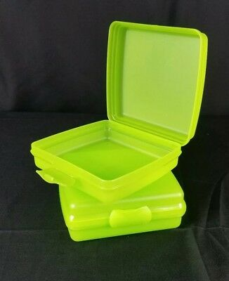 New Set of 2 TUPPERWARE Lime Green SANDWICH Keeper Box Storage Container Lunch