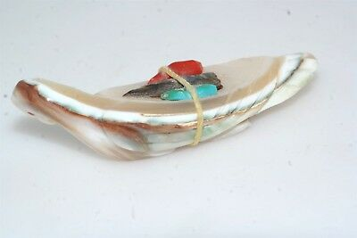 Zuni Indian Hand Carved Mother of Pearl Eagle Bird Fetish Turquoise Coral