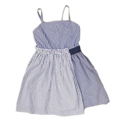 Cat & Jack Girls Navy White Striped Sleeveless Glitter Band Dress Size XL 14-16