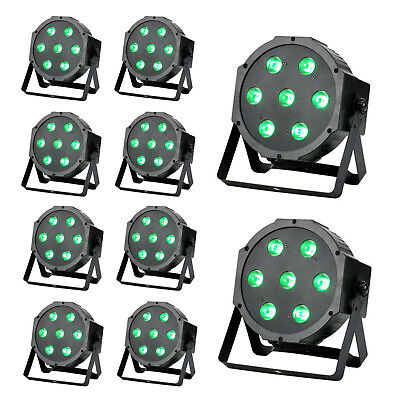 10x Flat DMX512 Led Par Can uplight RGBW Uplighting 75W Fr DJ Disco Stage Party