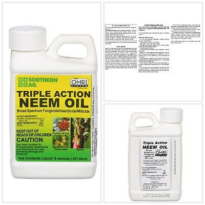 TRIPLE ACTION NEEM OIL Southern Ag 8 oz. Organic Insecticide Fungicide Miticide