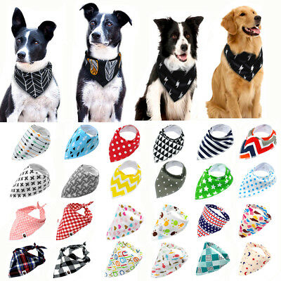 Soft Dog Bandana Lot Cotton Fleece Pet Collar Neck Scarf Neckerchief Small Large