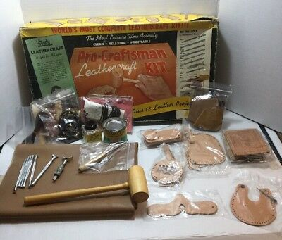Vtg Tandy Leather Craft Pro Craftsman Kit Tools Leather Extras