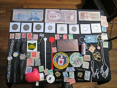 Junk Drawer Lot estate sale old coins old stamps jewelry paper money colt revolv