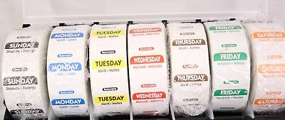 7 DAY FOOD SAFETY DATE DAY LABELS 1000 LABEL PER ROLL DOT w/ DISPENSER & 7 Rolls