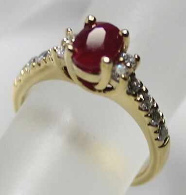 Estate Deco Genuine Blood Red Ruby Solid Silver 14K Gold Engagement Ring Size 6