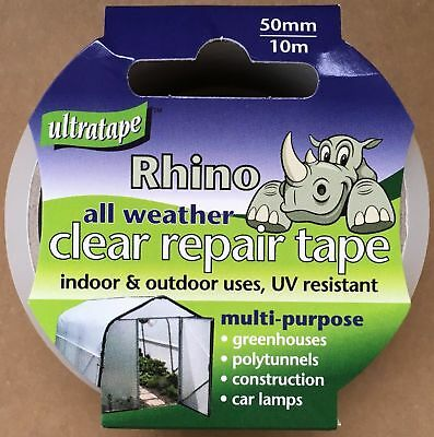 Ultratape Rhino All Weather Clear Tape 50mm x 10m Windows Glass Car Lamps New