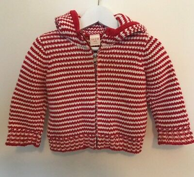 Seed Baby Hooded Knit Jacket Jumper Size 6-12 Months
