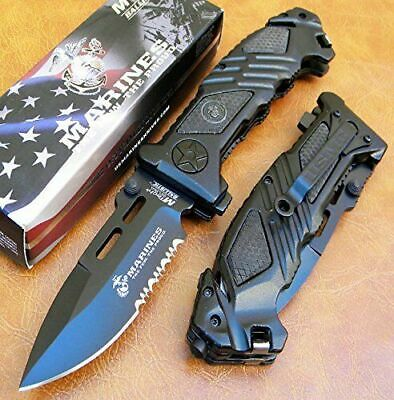 Fast Open Pocket Knife Assisted Folding Spring Open Tactical Blade USA Marines
