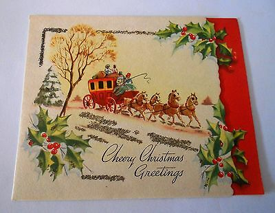 VINTAGE 1950s CHRISTMAS CARD - CHEERY CHRISTMAS GREETINGS WITH CUTOUT DESIGN