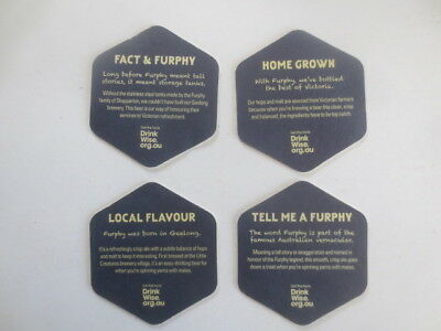 complete set of 4 FURPHY refreshing ale,Victorian  Issue BEER COASTER series 3