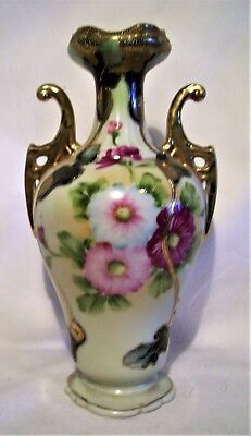 Antique Nippon Porcelain Vase Floral Hand Painted