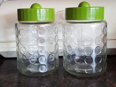 2 Vintage Nescafe Coffee Jars Dimpled Glass Green Lids