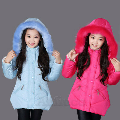 Kids Girls Winter Padded Warm Coat Jacket Fur Collar Outerwear Middle Parka Gift