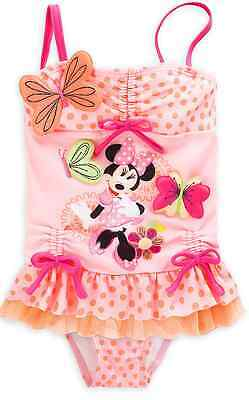 AUTHENTIC DISNEY Minnie Mouse Clubhouse Deluxe Swimsuit & Hat for Girls Sz 2 NWT