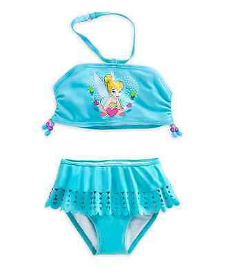 AUTHENTIC DISNEY Tinker Bell Swimsuit for Girls - 2-Piece Size 5-6 NWT