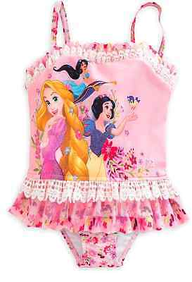 DISNEY Princess Deluxe Swimsuit for Girls Size 4 Rapunzel,Snow White,Jasmine