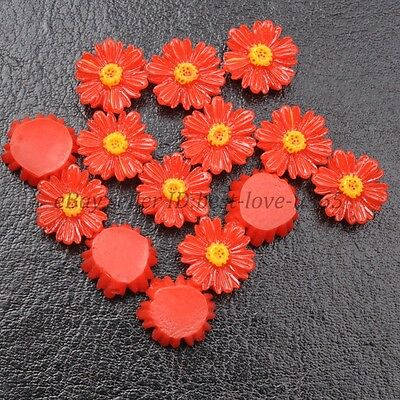 20pcs Red Gorgeous Sunflower Coral Resin Spacer Beads 12MM