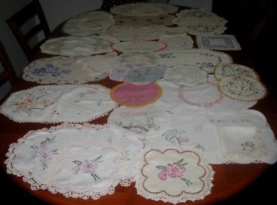 30  Vintage Hand Embroidered  Doilies ~ Linen & Cotton ~ Lace Edged