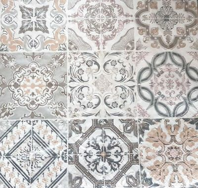4 Lunch Paper Napkins for Decoupage Party Table Craft Vintage Mosaic  Grey