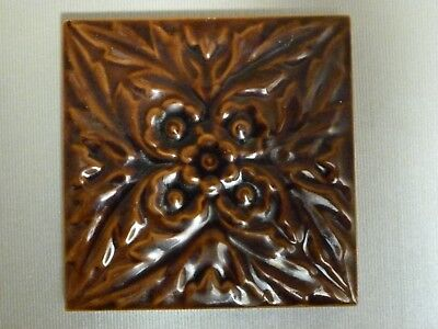 "Relief moulded 4.25"" square Edwardian tile by William Godwin. c1905"